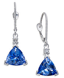 Tanzanite (4-1/3 ct. t.w.) and Diamond Accent Drop Earrings in 14k White Gold