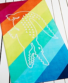 CLOSEOUT! Lacoste Crocostripe Beach Towel