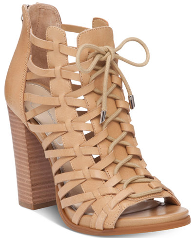 Jessica Simpson Riana Lace-Up Block-Heel Dress Sandals