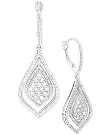 Diamond Teardrop-Style Drop Earrings (1-1/2 ct. t.w.) in 14k White Gold, Created for Macy's
