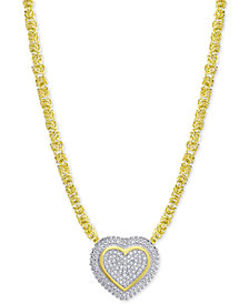 Diamond Heart Byzantine Pendant Necklace (1/2 ct. t.w.) in 18k Gold-Plated Sterling Silver