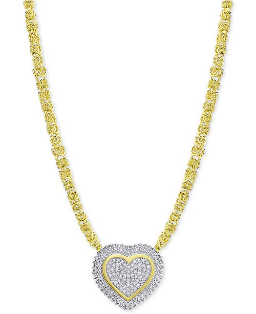 2a6bee98fd3 Diamond Heart Byzantine Pendant Necklace (1 2 ct. t.w.) in 18k Gold-Plated Sterling  Silver