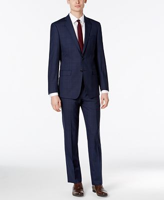 Calvin Klein X-Fit Men's Dark Blue Plaid Slim Fit Suit - Suits ...