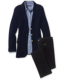 Lauren Ralph Lauren Chambray Shirt, Sweater Blazer & Straight-Leg Jeans