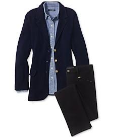 Lauren Ralph Lauren Chambray Shirt, Sweater Blazer & Straight-Leg Jeans
