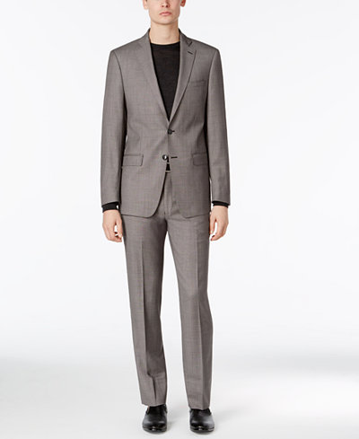 Calvin Klein Men's Big & Tall Extra Slim-Fit Black and White Birdseye Suit