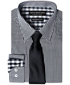 Nick Graham Men's Modern Fitted Gingham Dress Shirt & Dot Tie Set