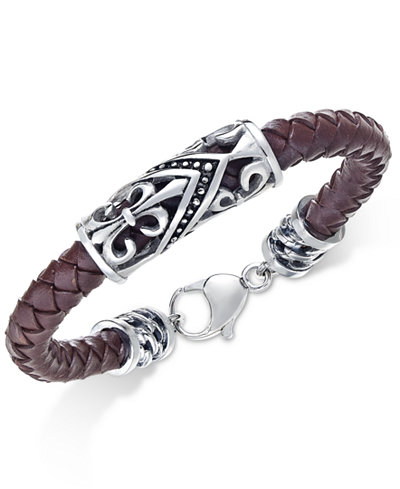 Sutton by Rhona Sutton Men's Stainless Steel Brown Leather Bracelet