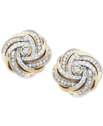 Diamond Love Knot Stud Earrings (1/2 ct. t.w.) in 14k Gold-Plated Sterling Silver