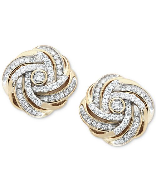 dc24831d73fb7 Diamond Love Knot Stud Earrings (1/2 ct. t.w.) in 14k Gold-Plated Sterling  Silver