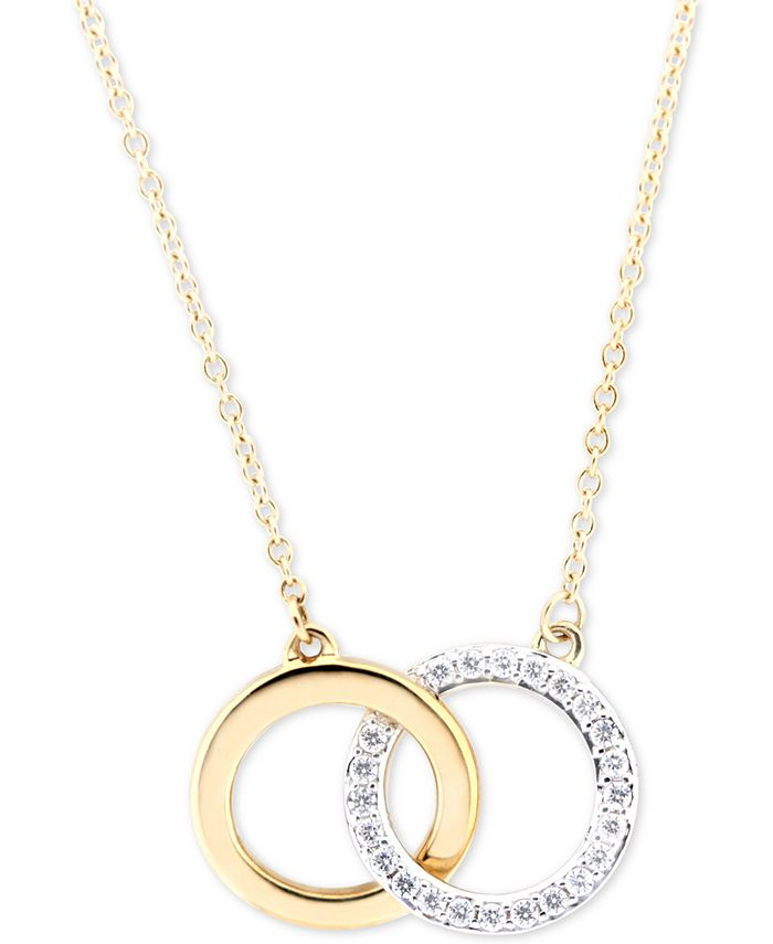 Wrapped - Diamond Double Circle Pendant Necklace (1/6 ct. t.w.) in in 10k Gold