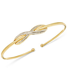 Wrapped™ Diamond Infinity Bangle Bracelet (1/6 ct. t.w.) in 14k Gold-Plated Sterling Silver, Created for Macy's