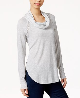 Maison Jules Cowl-Neck Crocheted-Trim Top, Created for Macy's