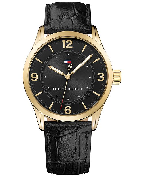 Tommy Hilfiger Men's Table Black Leather Strap Watch 42mm , Created for Macy's
