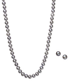 Gray Cultured Freshwater Pearl (6mm) Necklace and Matching Stud (7-1/2mm) Earrings Set in Sterling Silver