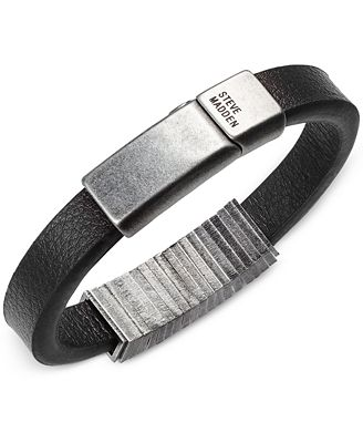 Steve Madden Men's Squared Station Leather Bracelet