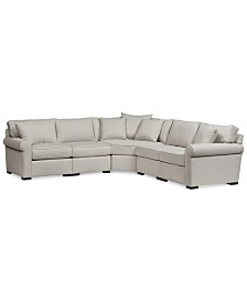 """Astra 5-Pc. """"L"""" Shaped Fabric Sectional, Created for Macy's"""