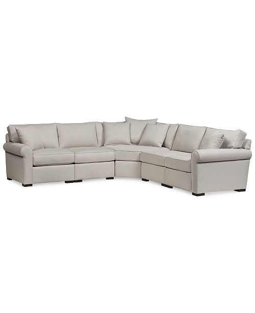 """Furniture CLOSEOUT! Astra 5-Pc. """"L"""" Shaped Fabric Sectional, Created for Macy's"""