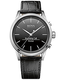 BOSS Hugo Boss Men's Smart Classic Black Leather Strap Smart Watch 44mm 1513450
