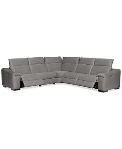 Kelsee 5-pc Fabric Sectional Sofa with 3 Power Recliners, Created for Macy's