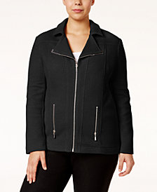 Alfani Plus Size Textured Moto Jacket, Created for Macy's