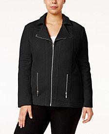 Alfani Plus Size Textured Moto Jacket, Created for Macy's