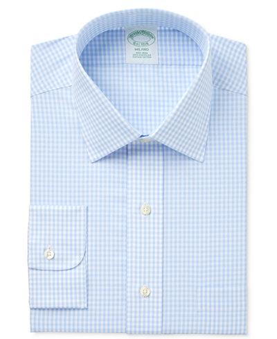 Brooks Brothers Men's Milano Extra-Slim Fit Non-Iron Light Blue Checked Dress Shirt