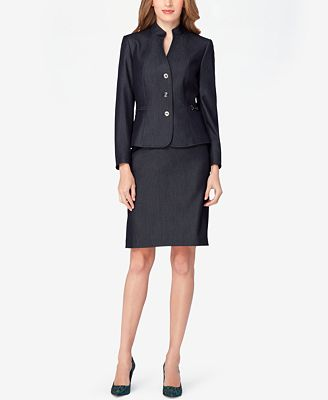 tahari asl denim skirt suit wear to work macy s