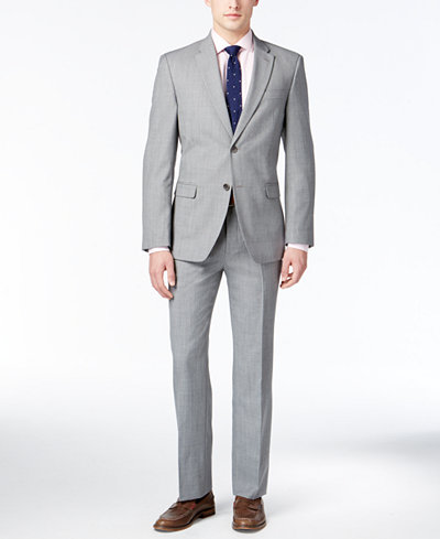 Tommy Hilfiger Men's Modern-Fit Light Gray Sharkskin Suit - Suits ...