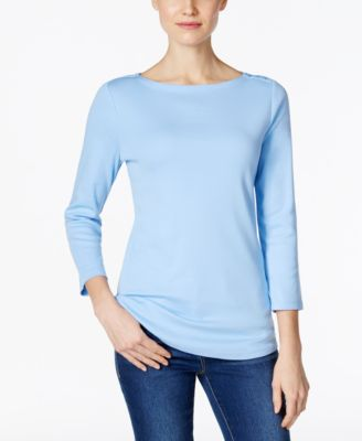Image of Charter Club Boat-Neck Button-Shoulder Top, Only at Macy's