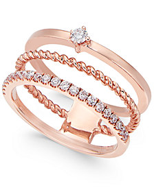 Diamond Three-Row Stackable Ring (1/4 ct. t.w.) in 14k Rose Gold