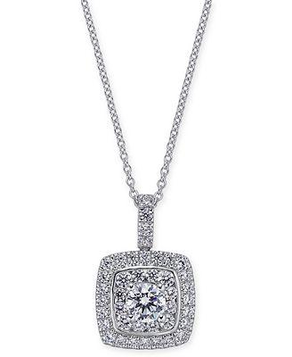 Diamond Square Pendant Necklace (1-1/4 ct. t.w.) in 14K White Gold