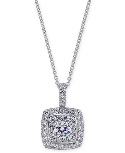 Diamond square pendant necklace 1 14 ct tw in 14k white gold diamond square pendant necklace 1 14 ct tw in 14k aloadofball Image collections