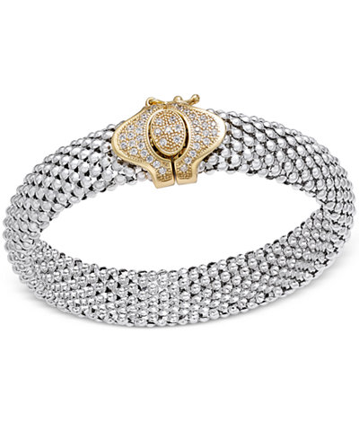 Diamond Dew Drop Popcorn Mesh Bracelet (1/2 ct. t.w.) in Sterling Silver and 14k Plated Gold