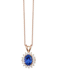 Chocolatier® Tanzanite (1 ct. t.w.) and Diamond (1/3 ct. t.w.) Pendant Necklace in 14k Rose Gold