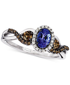 Le Vian Chocolatier® Tanzanite (1/3 ct. t.w.) and Diamond (1/2 ct. t.w.) Twist Ring in 14k White Gold