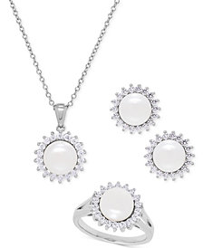 Cultured Freshwater Pearl (8mm) and Swarovski Cubic Zirconia Jewelry Set in Sterling Silver