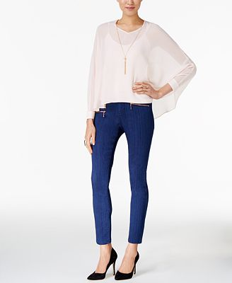 Thalia Sodi Necklace Top & Zip-Pocket Skinny Jeans , Only at Macy's