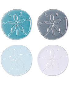 Fitz and Floyd Cape Coral Collection 4-Pc. Assorted Sand Dollar Snack Plate Set