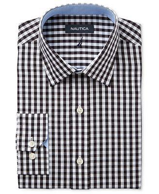 Nautica Men's Classic/Regular Fit Black/White Herringbone Check ...