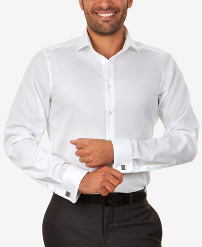 Calvin klein steel men 39 s slim fit non iron performance for Mens white french cuff shirt