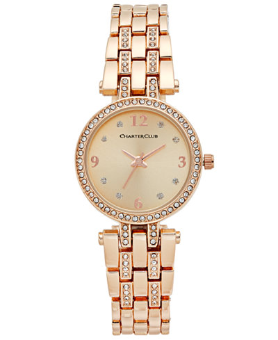 Charter Club Women's Pavé Rose Gold-Tone Bracelet Watch 28mm, Only at Macy'