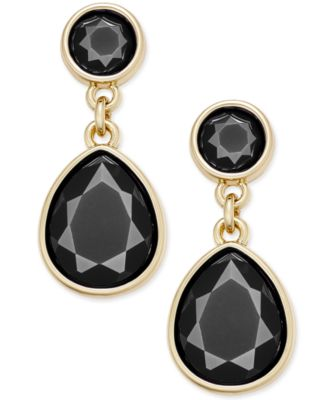 Image of Charter Club Gold-Tone Colored Stone Drop Earrings, Only at Macy's