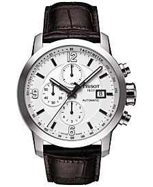 Tissot Men's Swiss Automatic Chronograph T-Sport PRC 200 Brown Leather Strap Watch 44mm T0554271601700