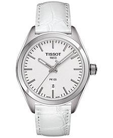 Tissot Women's Swiss T-Classic PR 100 White Leather Strap Watch 33mm T1012101603100