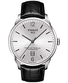 Tissot Men's Swiss Automatic T-Classic Chemin Des Tourelles Powermatic 80 Black Leather Strap Watch 42mm T0994071603700