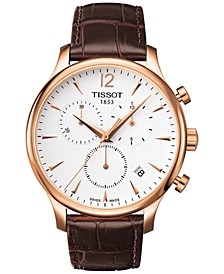 Men's Swiss Chronograph T-Classic Tradition Brown Leather Strap Watch 42mm T0636173603700