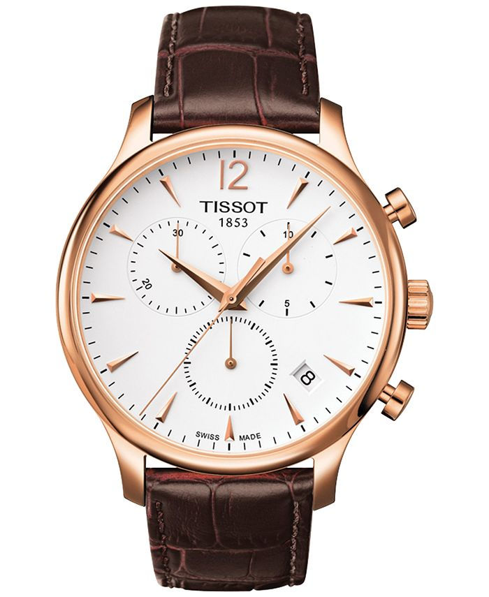 Tissot - Men's Swiss Chronograph T-Classic Tradition Brown Leather Strap Watch 42mm T0636173603700