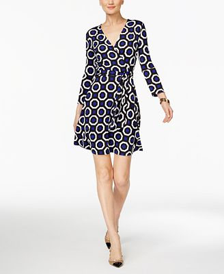 INC International Concepts Printed Wrap Dress, Only at