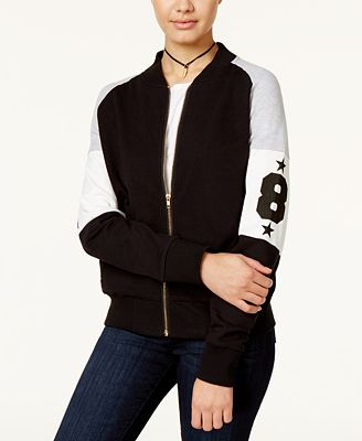 Say What? Juniors' Varsity Colorblocked Bomber Jacket